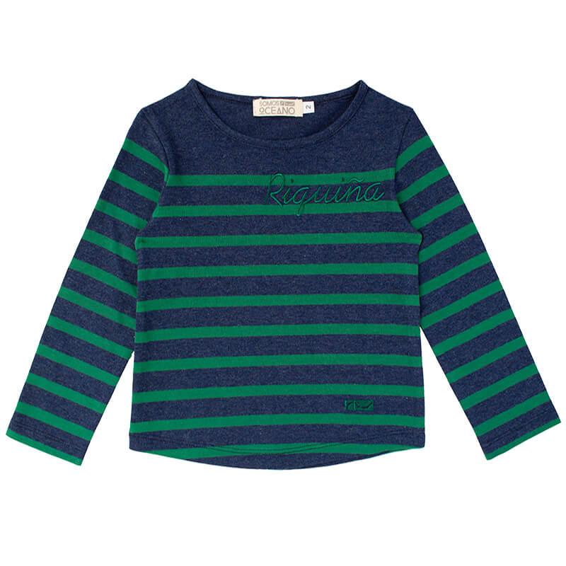 Camiseta Riquiña azul y verde niña